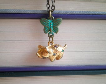 Vintage Pig Charm Necklace - Retro Rhinestone Piggy & Blue Butterfly Animal Assemblage Jewelry / Pendant Gift For Her - Mini Golden Piglet