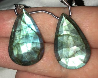 Faceted Elongated Labradorite Briolette Pair