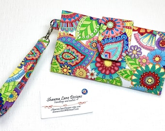 women's wallet, colorful floral print, trifold organizer wallet, checkbook, cell phone accessory, wristlet, small purse, ready to ship gift