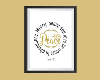 Jude 1:2 Instant Download, Wall Art Printable, Peace Bible Verse, Inspirational Quote Digital Art, Frame Art Design, Bible Scripture Poster