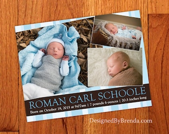 Blue & Brown Birth Announcement or Thank You with 3 Photos for Baby Boy or Girl - Any Colors - Inexpensive Custom Designed Picture Collage