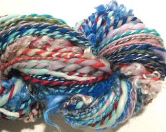 Handspun Yarn Waste Not Want Not B 162 yards rainbow yarn knitting crochet supplies waldorf doll hair art yarn merino wool