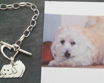 Custom TaGette Charm Chain Bracelet .. Sterling Silver Maltese Pet Portrait Dog silhouette Jewelry Memoralize Keepsake, Mothers Day
