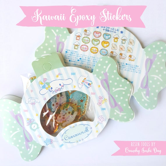 20 PCS Epoxy Sticker Set, Kawaii Stickers, Cinnamoroll, Resin Stickers, Cute Stickers, Pastel, Sticker Flakes, Planner Stickers, Japanese