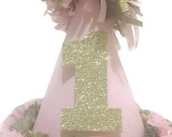 Pink and Gold Glitter Birthday Hat 1st First Birthday