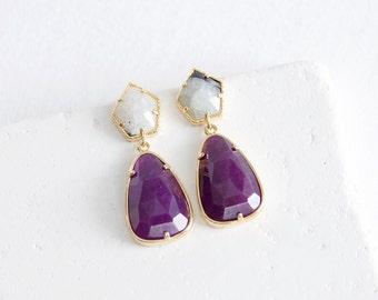 Gold Plated Purple Stone Earrings | stone drop earrings