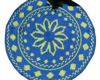 Bohemian Gypsy, Round Rug, Crochet Round  Mat Bathroom Eco friendly NEON colors, YOGA MAT, Mandala