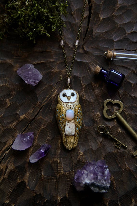 Barn Owl with Moonstone Necklace, Barn Owl Charm, Witch Mystic Owl Necklace, Owl Totem Necklace, Magic Owl Pendant, Fantasy Owl Necklace,
