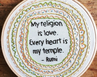 My religion is love - hand embroidery hoop art