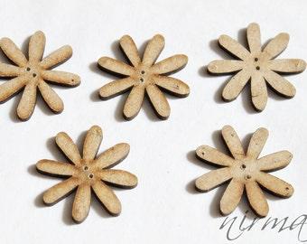 5 pc Wood buttons, Beige Brown Wooden Button, Scrapbook button, Sewing Button, Embellishment, Craft Scrapbooking Supply