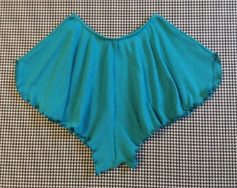 1980's, ribknit, workout shorts, in turquoise, by Jane Fonda Workouts, Women's size Medium