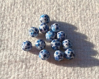 Glass Beads with Blue Dots - 10 mm - Sets of 15