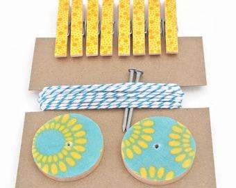 Art Hanging Kit ~ Art Display Kit ~ Mini Clothespins ~ Ribbon ~ Teal and Yellow