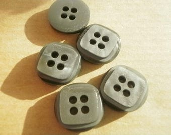 Set of 4 round buttons with four holes in plastic gray color, square top, 15 mm diameter
