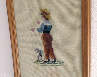 Antique needlepoint of country boy and his dog cuteness framed