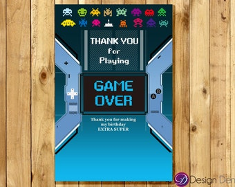 VIDEO Game Party Thank you card. ARCADE Game Thank you card. #TK1060