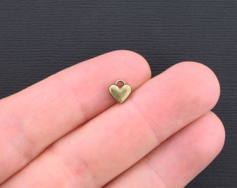 20 Tiny Heart Charms Antique Bronze Tone 2 Sided - BC929