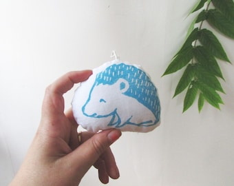 Hedgehog Ornament. Mini Plush. Hand Stamped. Choose any color. Made to order.