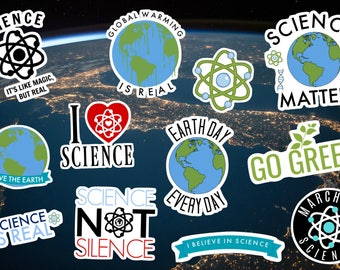 Science / Environment Sticker Pack Decal, Global Warming, Go Green, Earth, Climate Change, Activist, March For Science, Laptop Sticker, Car