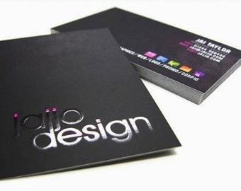 250 Business Cards - Raised ink - 16 PT suede velvet laminated stock  -  full color custom printed
