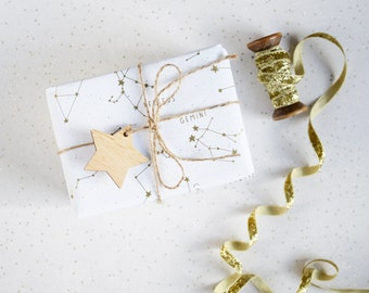 GOLDEN CONSTELLATIONS GIFTWRAP. Wrapping Paper Gold Metallic Star White Gift Wrap Set Tags Unique Holiday Giftwrap Stars Astronomy Birthday