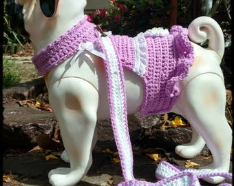 Dog Harness Dress with Leash Crochet Easter Sunday
