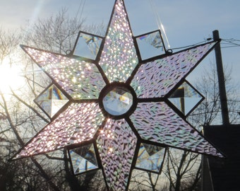 Star Suncatcher Stained Glass Iridescent Crystal Ice with Bevels and Jewel - Made to Order (SUN001)
