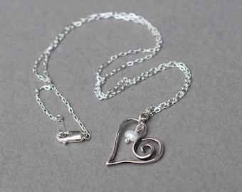 Offene Herz aus Sterling Silber mit Sterling Silber Halskette, Herzhalskette, Perlenkette, Sterling Silberkette, Perlenkette, N060