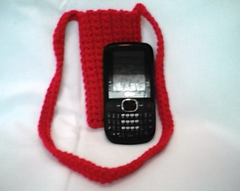 Crocheted Red Cross Body Cell Phone Cozy Pouch