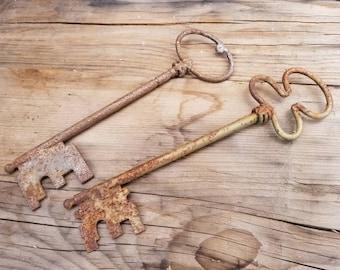Pair of Two large Oversized Rusty Metal Skeleton Keys
