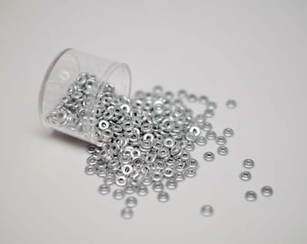 4MMx1MM, Silky Silver, Pressed Ring/Donut, O Beads - 5 Grams (Approx 175-185 Beads)