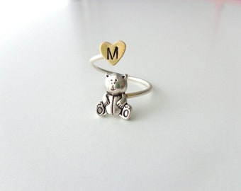 Silver teddy bear personalized initial ring, adjustable ring, animal ring, silver ring, statement ring