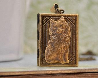 book locket, CAT LOCKET, locket necklace, cat locket, kitty locket, bow locket, long chain.