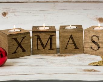 Christmas home decor Merry & Bright Christmas Candle Holders Wooden Xmas Candles Holders Christmas decorations Wooden Christmas Sign