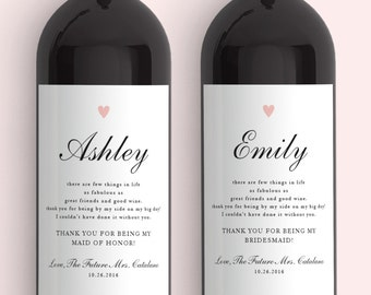 Thank You For Being My Bridesmaid Gift Wine Labels - From Sets of (2) Weatherproof Removable Wedding Be My Bridesmaid Bridesmaid Ask