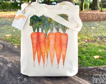 Carrots Tote Bag, Ethically Produced Reusable Shopper Bag, Farmers Market Bag, Cotton Tote, Shopping Bag, Eco Tote Bag, Reusable Grocery Bag