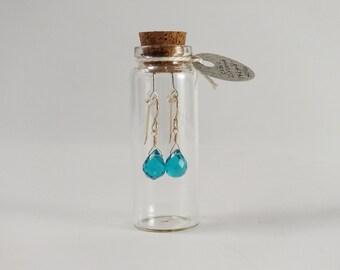 Teal blue faceted briolette drop earrings gold filled in bottle