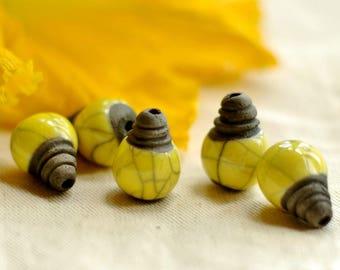 CERAMIC BEADS - set of 2 pearls raku yellow lemon shiny