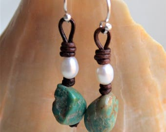 Genuine Turquoise and Pearls on Leather Earrings Dangling Earrings Artisan Jewelry Boho Bohemian Holiday Gifts For Her Yevga 1.75'' long