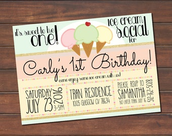 Ice Cream Social Birthday Party! *DIGITAL FILE* (.jpg or PDF)