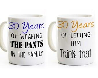 30th Anniversary Gift - Couples Coffee Mugs Cups - His and Hers Coffee Mugs - 30 Years Married - Wedding Anniversary Mugs