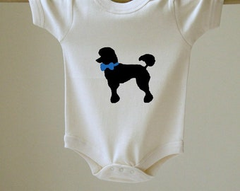 Baby Bodysuit Poodle with Bow Choose Your Color