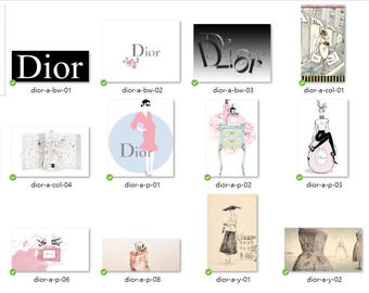 79 x Christian Dior Clipart+WallArt – JPG+PNG Files, Instant Download