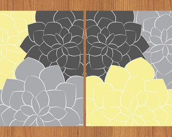 Floral Flower Burst Yellow Grey Set of 2 Wall Art Baby Decor Bedroom Bathroom Living room Kitchen  Print  8x10 Matte Print (99)