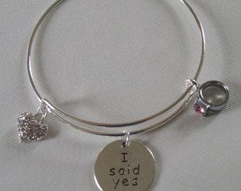 I Said Yes Engagement Bangle/Bracelet/Silver Tone