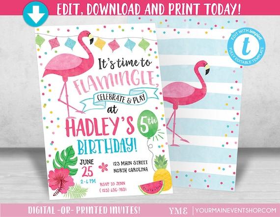 Flamingo Invitation, Let's Flamingle Invitation, Flamingo Birthday Invitation, Luau Pool Party, Summer Printable Invite, Tutti Frutti