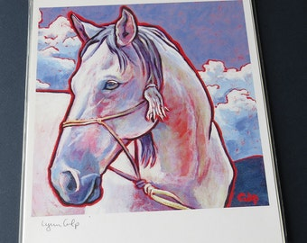WHITE HORSE 8x10 Signed Art Print from Painting by Lynn Culp