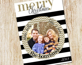 Custom Photo Christmas Card - Digital file or Printed Cards - Photo Holiday Card - Black and white stripes- gold glitter chevron