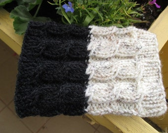2 in 1 Boot Cuffs - BLACK with IVORY tweed - Hand knit 2 ways to wear boot cuffs Cable knit Boot toppers Leg Warmers
