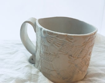 Lace pottery mug, handmade pottery mug, handmade coffee cup, antique lace pottery, white coffee cup, white ceramic mug, ceramic coffee cup